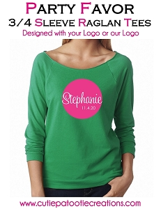 Personalized 3/4 Raglan Tee with your Logo - Low Minimums - CALL FOR PRICING