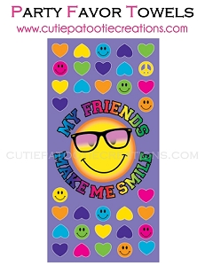 My Friends Make Me Smile Towel Party Emoji Favor for Bar and Bat Mitzvahs