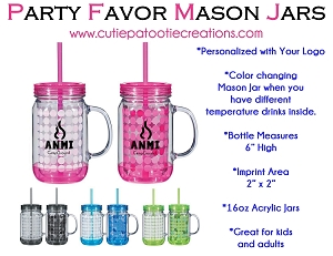 Color Changing Mason Jar with your Logo - 16oz - MINIMUM 36