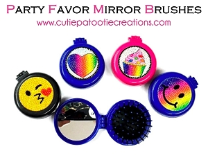 BLING POP UP Mirror Brush Party Favor or Bat and Bat Mitzvah, Sweet 16 or Quinceanera.