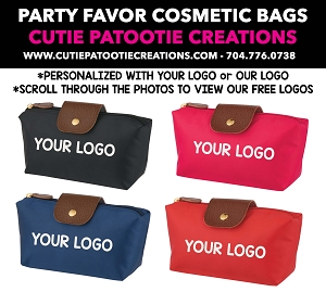 Personalized Cosmetic Vanity Bag Party Favor Giveaway for Weddings and Mitzvahs