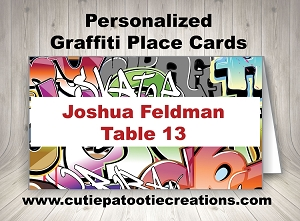 Personalized Graffiti Place Cards for Bar and Bat Mitzvahs