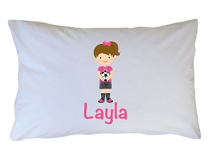 Personalized Girl Soccer Pillow Case for Kids, Adults and Toddler
