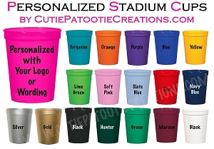 Personalized STADIUM CUPS - 16oz - Great for Candy Bars or Party Favors - MINIMUM 100