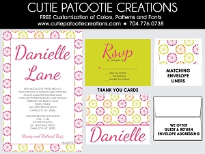 Pink, Orange, Lime Green Bat Mitzvah Invitations |Custom Colors Available