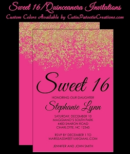 Pink & Gold Faux Glitter Sparkle Sweet 16 Birthday Party Invitations - Quinceanera Invitation