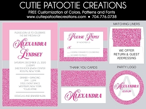 Pink, Grey and White Bat Mitzvah Invitations | Custom Colors Available