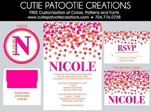 Pink and Orange Confetti Bat Mitzvah Invitations