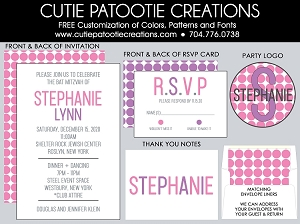 Pink and Purple Bat Mitzvah Invitations - Custom Colors Available