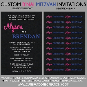 Pink and Blue B'nai Mitzvah Invitation Boy Girl - Custom Colors Available
