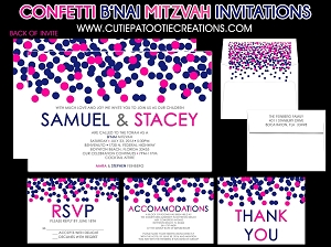 Pink and Blue Confetti B'Nai Mitzvah Invitations - Custom Colors Available