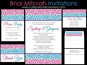 Pink and Blue Confetti Bnai Mitzvah Invitation - Custom Colors Available