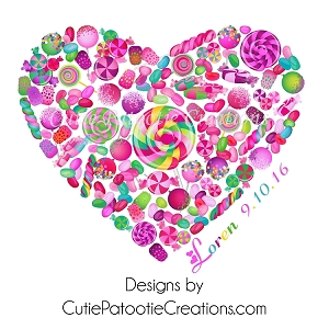 Candy Land Heart Bat Mitzvah Logo for Sweet Shop Theme Party