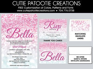 Pink and Silver Ombre Bat Mitzvah Invitations | Custom Colors Available
