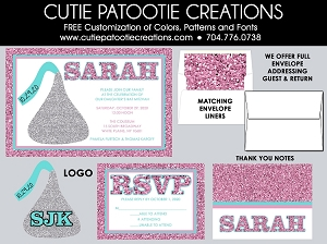 Chocolate Kiss Bat Mitzvah Invitations - Pink and Teal - Custom Colors Available