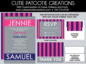 Pink and Blue B'Nai Mitzvah Invitation - Custom Colors Available