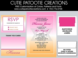 Pink and Orange Ombre Bat Mitzvah Invitation - Custom Colors Available