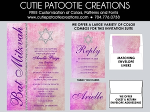 Watercolor Bat Mitzvah Invitations - Custom Colors Available