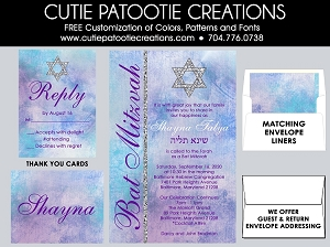 Watercolor Bat Mitzvah Invitations - Purple and Teal Blue - Custom Colors Available