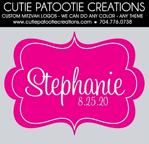 Hot Pink and White Monogram Name Mitzvah Logo - Custom Colors Available