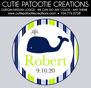 Preppy Whale Bar Mitzvah Logo - Navy and Green - Custom Colors Available