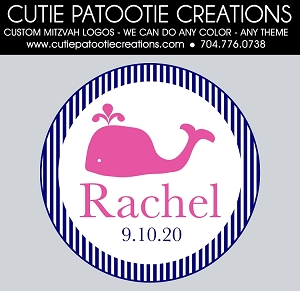 Preppy Whale Bat Mitzvah Logo - Pink and Navy - Custom Colors Available