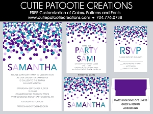 Turquoise and Purple Confetti Bat Mitzvah Invitations - Custom Colors Available