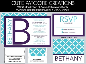 Purple and Aqua Blue Monogram Initial Bat Mitzvah Invitation - Custom Colors Available