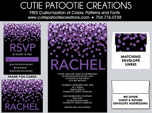 Purple and Black Confetti Bat Mitzvah Invitations - Custom Colors Available