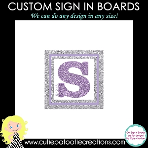 Purple and Silver FAUX Glitter Bat Mitzvah Sign in Board or Sign in Pillow - Custom Colors Available