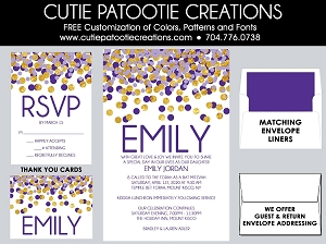 Purple and Gold Confetti Bat Mitzvah Invitations