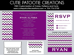 Purple and Grey Chevron Bat Mitzvah Invitation - Custom Colors Available