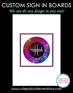 Rainbow Confetti Circle Bat Mitzvah Sign in Board or Sign in Pillow