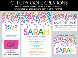 Rainbow Confetti Bat Mitzvah Invitation - Custom Colors Available