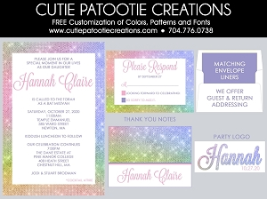 Pastel Rainbow Bat Mitzvah Invitations