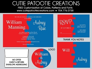 Fire Red and Blue Jigsaw Puzzle B'nai Mitzvah Invitation - Custom Colors Available