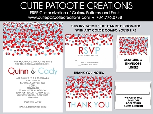 Red and Blue Confetti B'Nai Mitzvah Invitations - Custom Colors Available