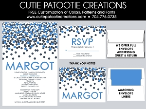 Royal Blue Confetti Bat Mitzvah Invitations - Custom Colors Available