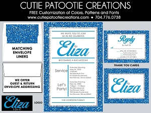 Royal Blue and Silver Glitter PATTERN Bat Mitzvah Invitations - Custom Colors Available