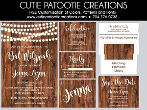Rustic Bat Mitzvah Invitations, Wedding Invitation, Sweet 16 Invitation - Use for Any Event