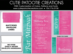 Pink and Teal Blue Bat Mitzvah Invitations | Custom Colors Available