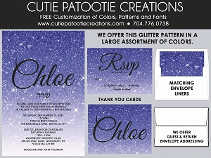 Purple Ombre FAUX Glitter Bat Mitzvah Invitations