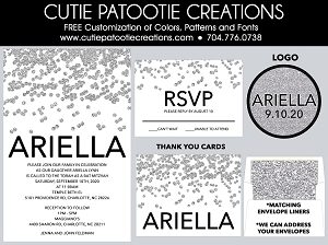 Silver and Black Confetti Bat Mitzvah Invitations - Custom Colors Available