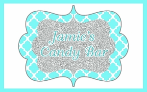 Teal and Silver Custom Candy Buffet Sign and Banner - Choose your color for the pattern