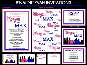 B'Nai Mitzvah Invitations - Pink and Blue Step and Repeat - Custom Colors Available