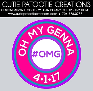 OMG Hashtag Tagline Name Bat Mitzvah Logo - Custom Colors Available