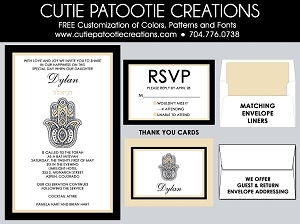 Hamsa Hand Bat Mitzvah Invitation - Champagne & Black - Custom Colors Available