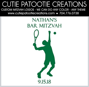 Tennis Silhouette Bar Mitzvah Logo - Custom Colors Available