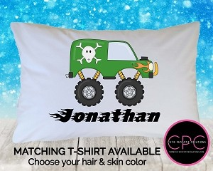Personalized Green Monster Truck Pillow Case