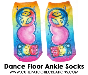 Tie Dye Dance Floor Socks with Peace Sign, Gummy Bear and Pink Heart